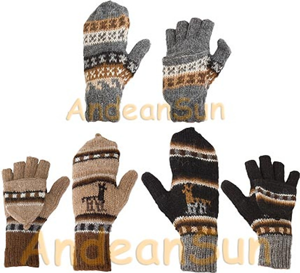 100% Alpaca GLITTENS with Andean Motif (HandSpun - HandKnitted - UNDYED Natural Alpaca Colors) - Rustic Quality