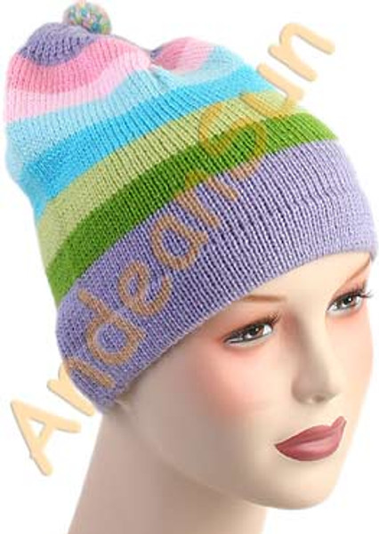 Striped Beanie Alpaca Hat - Bold Color - 16752218
