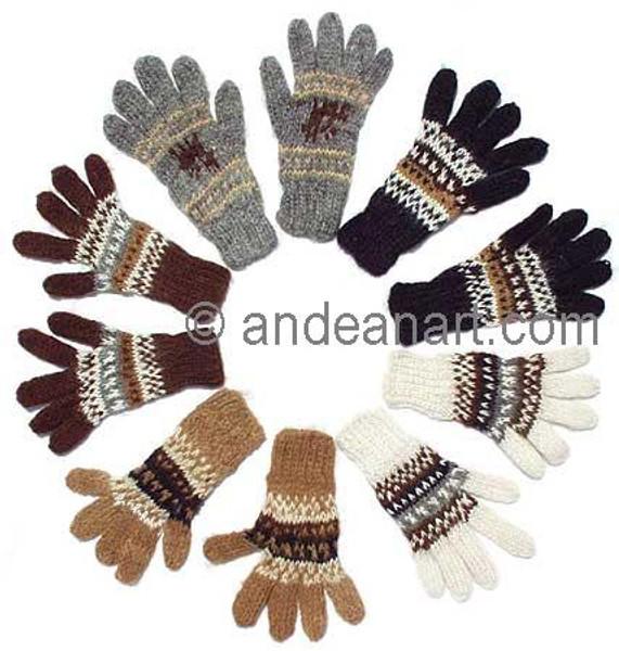100% Alpaca KIDS Gloves with Andean Motif (HandSpun - HandKnitted - UNDYED Natural Alpaca Colors) - 16783103