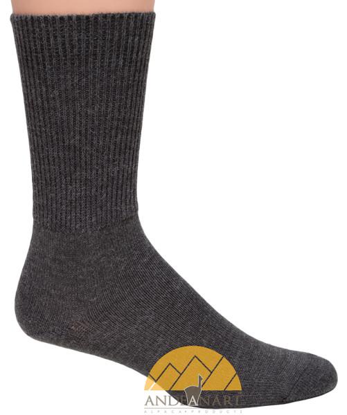 Men's Ribbed Crew Alpaca Socks by AndeanSun - Dark Grey - 16711701
