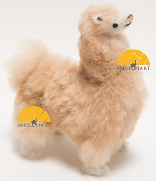 """Alpaca Fur Stuffed Figurine Standing with booties 10"""" - Beige - 15161657"""