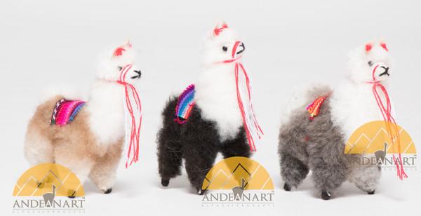 "Llama / Alpaca Fur Toy Standing 4"" - Alpaca Wool - Mixed Colors - 15161658"