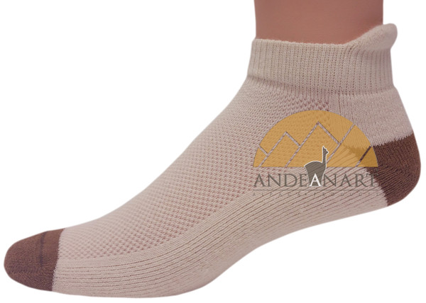 Alpaca Running Cushioned Tab Ankle Socks VERSION 2.0 - AndeanSun - Ivory and Camel  - 16711730