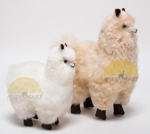 Alpaca Fur Stuffed Figurine Standing with booties - Alpaca Figurine Stuffed Animal