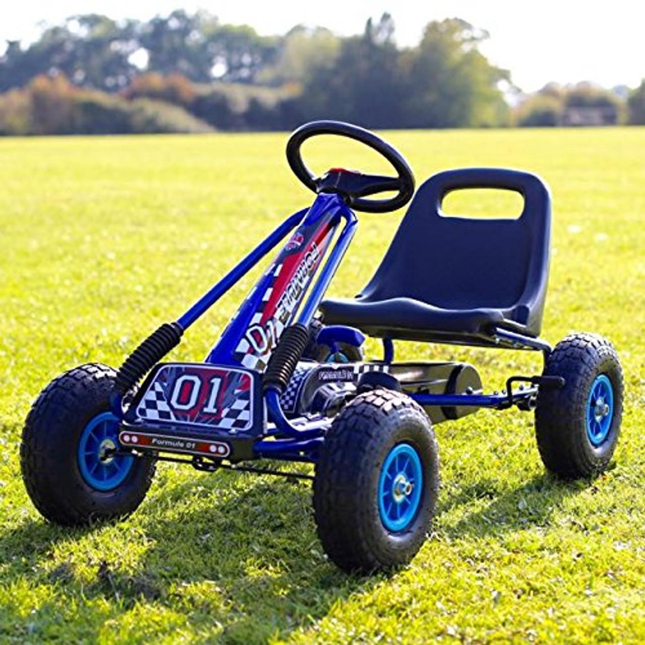 Zoom Rubber Wheel Go Kart Cart Blue Black 3 7 Years