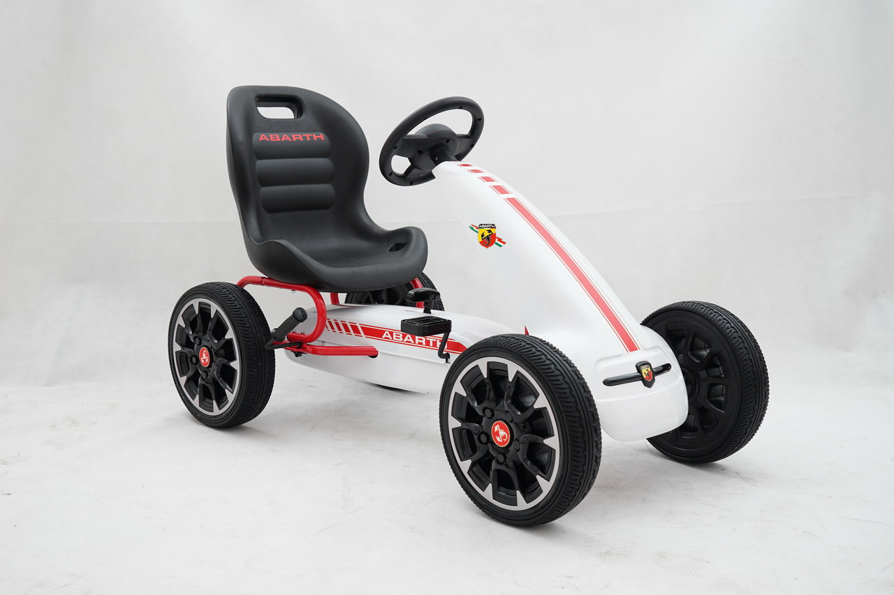 Licensed Abarth Pedal Go Kart (WHITE) - 3-8 YEARS - www.funstuff.ie