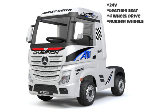 Licensed Mercedes Benz Actros Heavy Truck - Kids Ride on 24v Kids Ride on Artic Four Wheel Drive 4wd Leather Seat (White) (HL358-WHITE-24V)