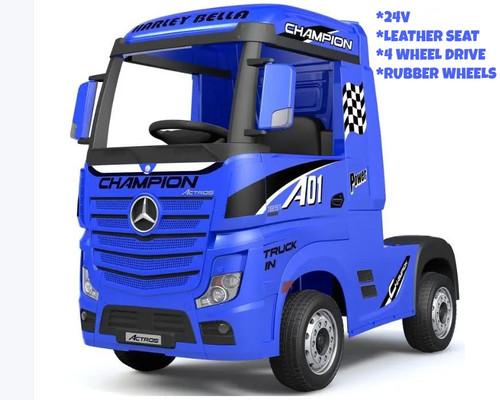 Licensed Mercedes Benz Actros Heavy Truck - Kids Ride on 24v Kids Ride on Artic Four Wheel Drive 4wd Leather Seat (Blue) (HL358-BLUE-24V)