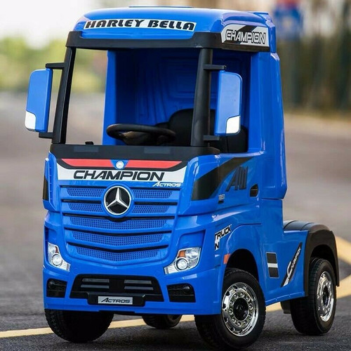 Licensed Mercedes Benz Actros Heavy Truck - Kids Ride on 24v Kids Ride on Artic Four Wheel Drive 4wd Leather Seat (Blue) (HL358-BLUE-24V)