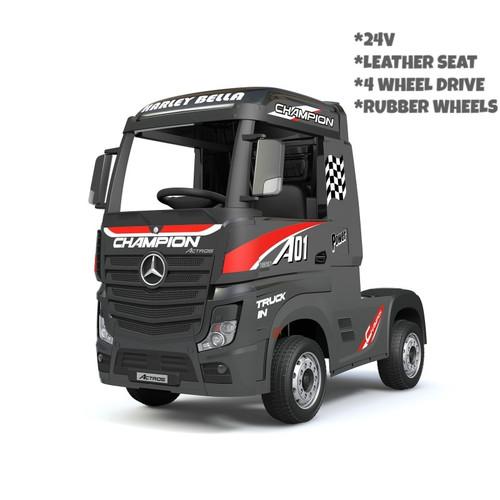 Licensed Mercedes Benz Actros Heavy Truck - Kids Ride on 24v Kids Ride on Artic Four Wheel Drive 4wd Leather Seat (Black) (HL358-BLACK-24V)