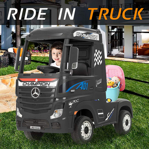 Licensed Mercedes Benz Actros Heavy Truck - Kids Ride on 24v Kids Ride on Artic Four Wheel Drive 4wd Leather Seat (Black) (HL358-BLACK-24V)