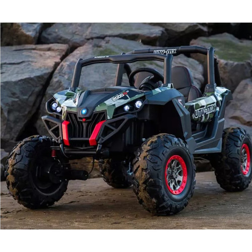 Ground Commander - 24v Two Seater - Remote control ATV Quad - Rubber Wheeled Electric Ride On - Chunky Rubber Wheels - Leather Seats - MP3 - Army Khaki