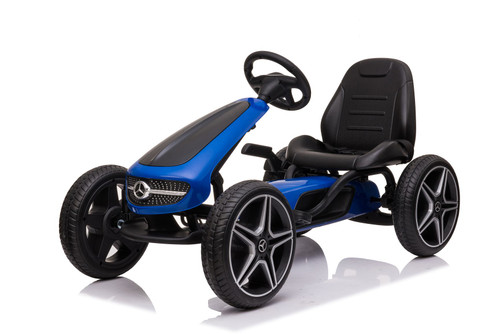 Mercedes Benz - Stylish Eva Rubber Wheel Tyres Go Kart / Cart - Blue & Black- 3-8 Years (XMX610-BLUE)