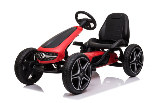 Mercedes Benz - Stylish Eva Rubber Wheel Tyres Go Kart / Cart - Red & Black- 3-8 Years (XMX610-RED)