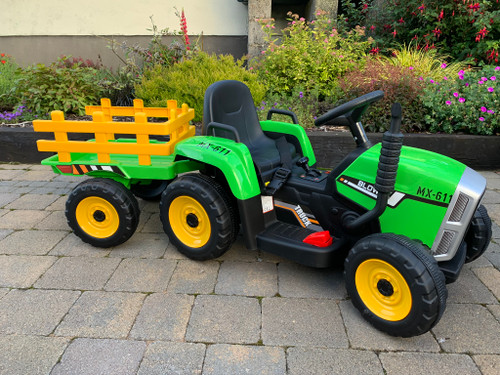 MX - 12V Electric Tractor & Trailer Green