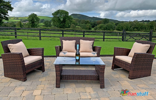 4 Seater Rattan Garden Furniture Set with Glass Top Coffee Table (Brown)