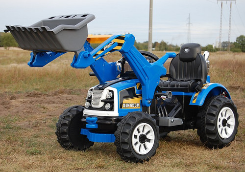 KINGDOM- 12v Electric Tractor with Loader - Blue (JS328A-BLUE)