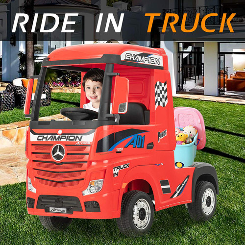 Licensed Mercedes Benz Actros Heavy Truck - Kids Ride on 24v Kids Ride on Artic Four Wheel Drive 4wd Leather Seat (Red) (HL358-RED-24V)