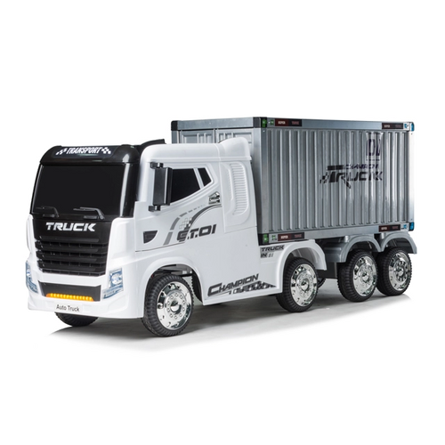 JJ Action Container 12V Electric Ride On Truck (White) - www.funstuff.ie