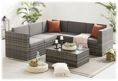 6 Seater Rattan Corner Furniture Sofa Set (Grey)