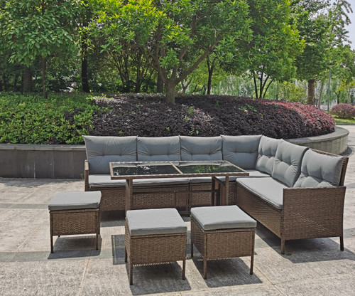 Rattan Corner Sofa Set with Dining Table (Brown) - ST1570-BROWN - funstuff.ie