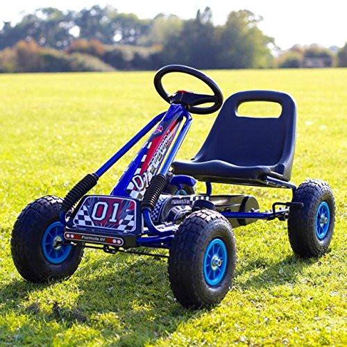 Zoom Rubber Wheel Go Kart (Blue Black)