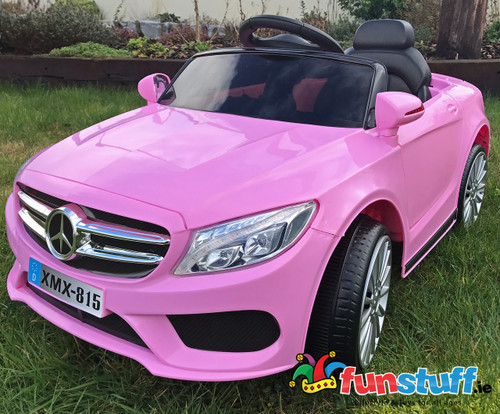 Mercedes Style Coupe 12V Electric Ride On Car (Pink) - www.funstuff.ie