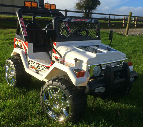 Drifter Raptor Powerful 12V Two Seater 4x4 Electric Ride on Jeep (White)