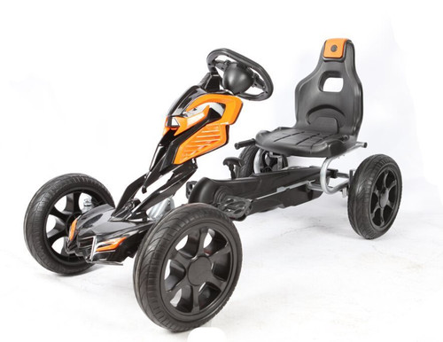 Thunder - Eva Rubber Wheel Tyres Go Kart / Cart - Orange & Black - 4-10 Years (1504-ORANGE)