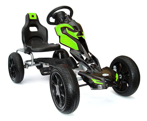 Thunder - Eva Rubber Wheel Tyres Go Kart / Cart - Green & Black- 4-10 Years
