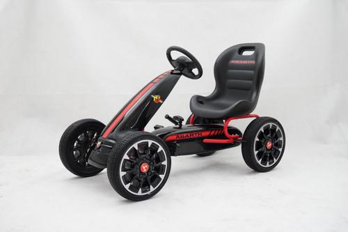 Licensed Abarth Pedal Go Kart (BLACK) - 3-9 YEARS