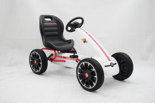 Licensed Abarth Pedal Go Kart (WHITE) - PB9388A-WHITE - Funstuff.ie Ireland UK