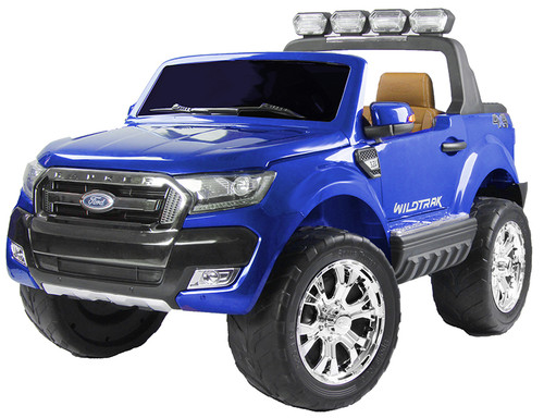 Licensed Ford Ranger Premium Upgraded 24v - 4 Wheel Drive (4 Motors) - Kids Electric Jeep - Special Blue - Brown Leather Seats and Rubber Wheels (Ford-Ranger-Blue-24v)