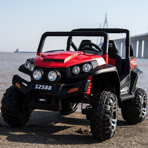 Ranch Wagon - 24v Two Seater - Remote control ATV Quad 4 Wheeler Electric Ride On - Chunky Rubber Wheels - 4 X Strong Motors - 4wd - Leather Seats - MP3 - Red (S2588-RED)
