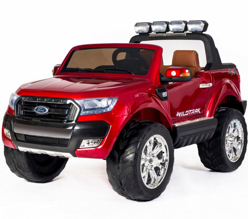 Licensed Ford Ranger Premium Upgraded 24v - 4 Wheel Drive (4 Motors) - Kids Electric Jeep - Special Red - Brown Leather Seats and Rubber Wheels