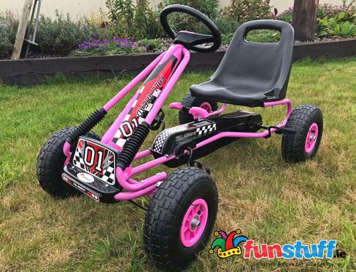 Zoom Rubber Wheel Go Kart (Pink Black) - Funstuff.ie Ireland UK