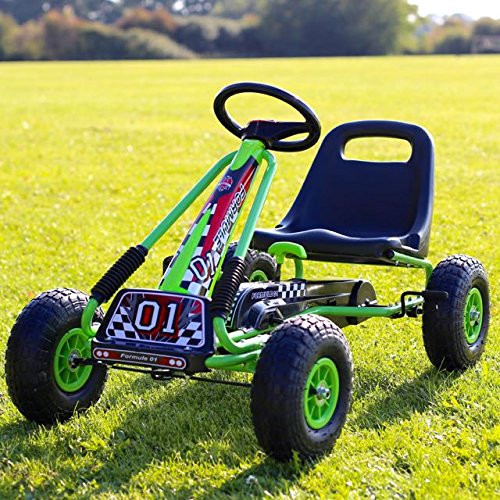 Rubber Wheel Go Kart / Cart - Green & Black - 3-8 Years (A15-GREEN)