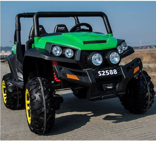 Ranch Wagon - 24v Two Seater - Remote control ATV Quad 4 Wheeler Electric Ride On - Chunky Rubber Wheels - 4 X Strong Motors - 4wd - Leather Seats - MP3 - Green (S2588-GREEN)