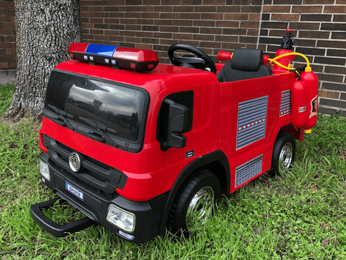 12V Battery Remote Control Fire Engine / Truck Toy Car With Rubber Wheels And Accessories (SX1818-RED)