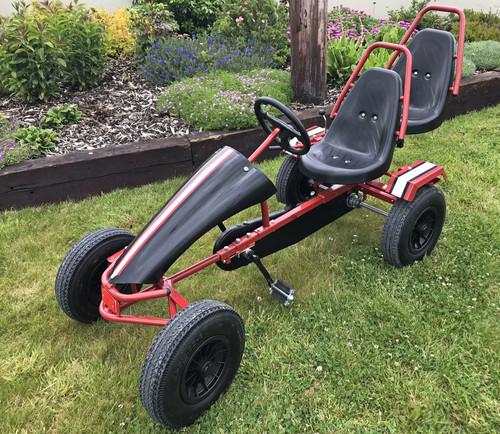 Hercules- Large Rubber Wheel Heavy Duty Steel Framed Go Kart - Extra Seat (Black & Red) - 7-Adult ( GC0214C-BLACK-RED )