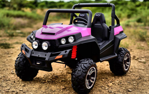SALE - Ranch Wagon - 24v Two Seater - Remote control ATV Quad 4 Wheeler Electric Ride On - Chunky Rubber Wheels - 4 X Strong Motors - 4wd - Leather Seats - MP3 - Pink (S2588-PINK)