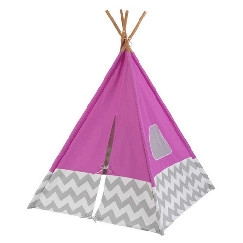 Play Teepee - Pink with Gray and White Chevron