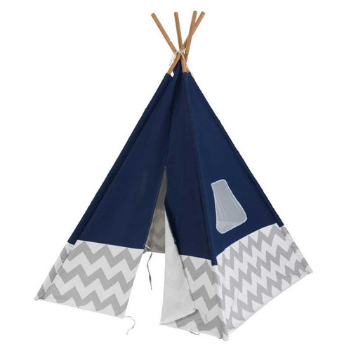 Play Teepee - Navy with Gray and White Chevron