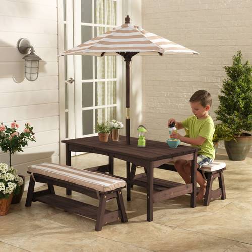 Outdoor Table and Bench Set with Cushions & Umbrella - Oatmeal & White Stripes