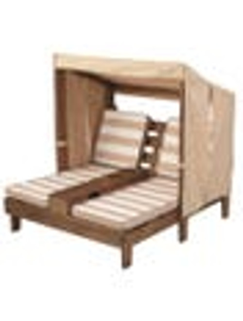 Double Chaise Lounge with Cupholder - Espresso with Oatmeal & White Stripes