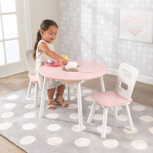 Round Storage Table and 2 Chairs Set - White & Pink