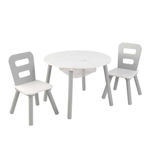 Round Table & 2-Chair Set - Gray & White
