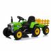 MX - 12V Electric Tractor & Trailer Green - www.funstuff.ie