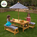 Outdoor Table and Bench Set with Cushions & Umbrella
