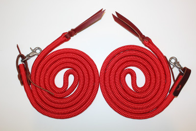 Rope Split Reins shown with latigo waterloops and stainless steel scissor snaps.